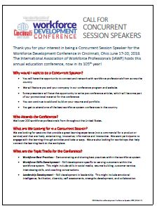 Call for Concurrent Session Speakers at 2018 Workforce Development Conference
